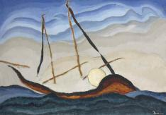 Arthur Dove, Boat Going Through Inlet, c. 1929, oil on tin, 20 1/8 x 281/4 (51.4 x 71.8 cm), Terra Foundation for American Art, Daniel J. Terra Art Acquisition Endowment Fund, 2015.6