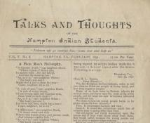 Revue amérindienne Talks and Thoughts of the Hampton Indian Students (détail), 1886-1907, © UC San Diego, La Jolla