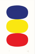 Ellsworth Kelly. Bleu et jaune et rougeorange [Blue and Yellow and Red-Orange] (AX17), de la Suite de vingt-sept lithographies en couleur [Suite of Twenty- Seven Color Lithographs], 1964-1965, lithographie sur papier Rives BFK, EA (éd. 75), 89,5 x 60,3 cm. Institut national d'histoire de l'art, Paris © Ellsworth Kelly Foundation